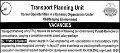 Government Job Opportunities in Transport Planning Unit Lahore  #Job #Government #Transport_Planning