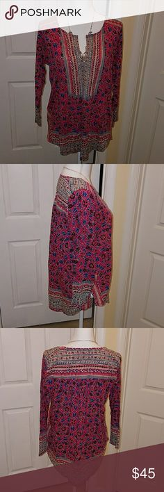 Lucky Pink 3/4 TOP Size L NWT Pink, blue, purple, and cream abstract print top. Dhsh123420 Lucky Brand Tops