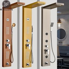 $150 Modern Stainless Steel Rain Waterfall Shower Panel Wall Mounted SPA Massage System Shower Column Kit with Jets Handshower