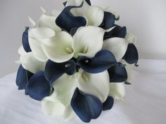 Blue White Calla Lily Bouquet Navy Bouquet by WeddingDesigns2Love