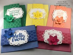 A Fun Fold Farewell to the Retiring In Colors | Just Stampin' Fun Fold Cards, Folded Cards, Easy Cards, Stampin Pretty, Stampin Up, Handmade Thank You Cards, Mary Fish, Flowers Perennials, Card Tutorials