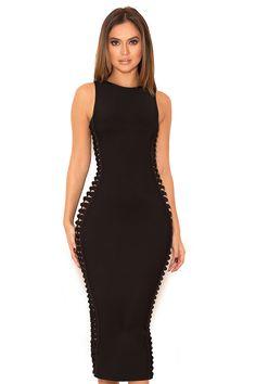 Clothing : Bandage Dresses : 'Martinique' Black Side Weave Bandage Dress