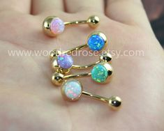 A SET OF Five Colors Fire Opal Belly Button Ring ,Opal Navel Piercing,white opal, purple opal,green Belly Button Piercing Jewelry, Bellybutton Piercings, Piercing Ring, Body Piercings, Tongue Piercings, Ear Gauges, Piercing Ideas, Green Opal, Pink Opal
