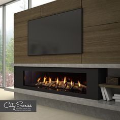 Fantastic Photo Fireplace Hearth with tv Strategies Meet the Regency City Series™ New York Zero clearances to TV or artwork! Fireplace Tv Wall, Linear Fireplace, Bedroom Fireplace, Fireplace Inserts, Fireplace Ideas, Living Room Tv, Living Room With Fireplace, Contemporary Fireplace Designs, Modern Foyer