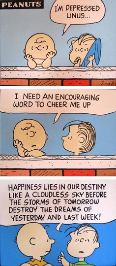 Linus always had a way with words ;) - Liza..peanuts comic strip paintings 3 panels of linus & charlie brown by waltyablonsky