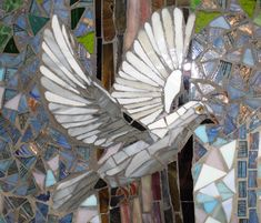 Mosaic mural St. Francis HS elevator detail of a dove. By showcasemosaics