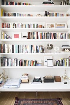 The case for wall-mounted shelves. Small Space Secrets: Swap Your Bookcases for Wall Mounted Shelving Secret Walls, Home Decoracion, Book Wall, Home Libraries, Wall Mounted Shelves, Ikea Book Shelves, Large Wall Shelves, Built In Shelves, Corner Shelves