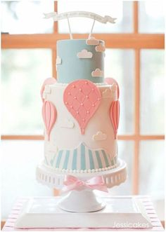 Up, Up and Away Baby Shower Cake by Jessica Harris. Cutest baby shower cake ever! Torta Baby Shower, Baby Cakes, Pink Cakes, Baby Shower Virtual, Hot Air Balloon Cake, Balloon Party, Air Ballon, Balloon Wedding, Balloon Birthday