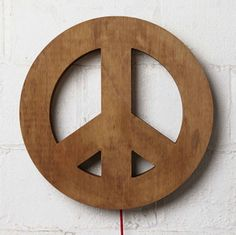 Plywood Peace light with red fabric-covered flex. Uses a 40 watt eco bulb. Measures in Diameter x Deep. Give Peace A Chance, Red Fabric, Art Store, Lamp Design, Fabric Covered, Plywood, Wall Lights, Bulb, Gifts