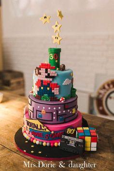 Super Mario Wedding cake 80s party Michael jackson by Ruth - http://cakesdecor.com/cakes/282084-super-mario-wedding-cake-80s-party-michael-jackson