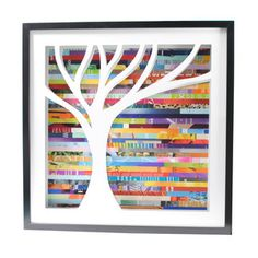 These are for sale at fab.com, but it would be a fun project to make with the kids. The background is made from strips cut from magazines.