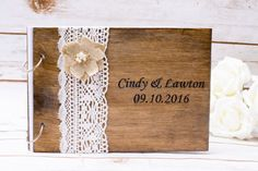 Wedding Guest Book wooden  Rustic Wedding by HappyWeddingArt