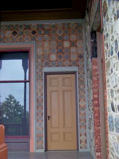 Olana – Piazza (looking northeast) – door to the Gallery Hall – the wall is Mexican tile filled with concrete – photo: rchrdcnnnghm, via Flickr