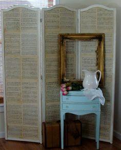 The Decorating Diaries: Antique Sheet Music / Chalkboard Folding Screen