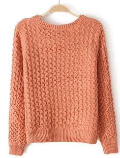Orange Long Sleeve Zigzag Applique Knit Sweater - Sheinside.com