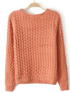 Orange Long Sleeve Zigzag Applique Knit Sweater - Sheinside.com
