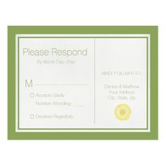 x Yellow Daisy Chain RSVP Postcard - rustic country gifts style ideas diy Wedding Rsvp, Wedding Sets, Wedding Colors, Rustic Wedding, Gerbera Wedding, Marriage Gifts, Rustic Gifts, Retro Gifts, Diy Funny