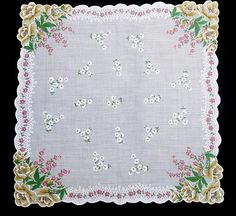 Vintage Hanky Handkerchief Scalloped w Yellow Roses
