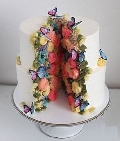 So pretty, the cake couldn't possibly contain it all! Part of Art & Home's curated collection of over 55 Amazing, Cool & Beautiful Birthday Cakes cake decorating recipes kuchen kindergeburtstag cakes ideas Butterfly Birthday Cakes, Unique Birthday Cakes, Beautiful Birthday Cakes, Butterfly Cakes, Beautiful Cakes, Amazing Cakes, Cake Birthday, Stunningly Beautiful, Crazy Birthday Cakes