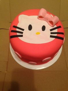 Red velvet and cream cheese frosting. Hello kitty cake!