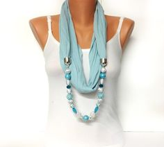 blue jewelry scarf