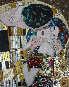 Interpretation Of The Kiss By Klimt Metal Print by Julie Mazzoni. All metal prints are professionally printed, packaged, and shipped within 3 - 4 business days and delivered ready-to-hang on your wall. Choose from multiple sizes and mounting options. Tile Art, Klimt, Art Works, Art Projects, Painting, Gustav Klimt, Art, Mosaic Art, Beautiful Art