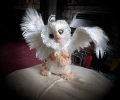 Silky owl needle felted, with wool and silk...