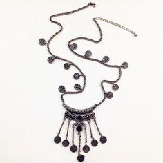 Fringed Coin Shape Necklace