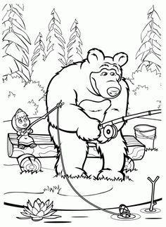 Máša a medveď - omaľovánky Earth Coloring Pages, Disney Coloring Pages, Coloring Book Pages, Coloring Pages For Kids, Adult Coloring, Bear Drawing, Drawing For Kids, Masha Et Mishka, Marsha And The Bear