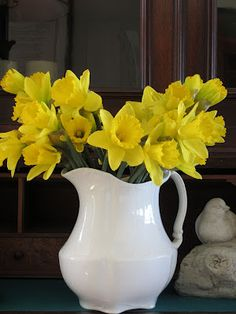 Daffodils and white ironstone pitcher.