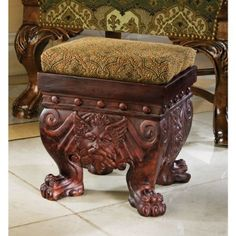 The Greenman Footstool - Funky Furniture, Classic Furniture, Furniture Styles, Black And White Prints, Accent Pieces, Wood Carving, Wood Crafts, Decorative Boxes, Antiques