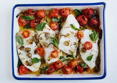 When cherry tomatoes are broiled in the oven, they burst and create their own fresh sauce for this simple sea bass recipe.
