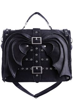 Black Bat Wings Hand Bag Purse Gothic Satchel Briefcase @ dysfunctionaldoll.com This is something I'd like for behind my wheelchair when I need to carry more than I can in my purse