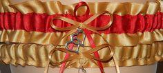 Gold and Red Wedding Garter Set Bridal by WeddingGarterStore, $15.99