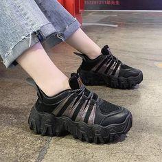 Women's Casual Shoes 2020 Korean Women Sneakers Thick Bottom Vulcanize – Touchy Style Black Shoe Boots, Black Shoes Sneakers, Sneakers Outfit Casual, Black Casual Shoes, Cute Sneakers, Girls Sneakers, Women's Casual, Girls Shoes, Chunky Sneakers