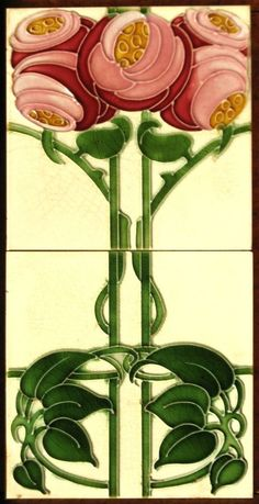 Art Nouveau Roses - T & R Boote - are in the right place about Architectural Style guide Here we offer you the most beautiful pictures about the Architectural Style modern you are looking for. When you examine the Art Motifs Art Nouveau, Azulejos Art Nouveau, Design Art Nouveau, Antique Tiles, Vintage Tile, Vintage Art, Jugendstil Design, Art Nouveau Tiles, Mary Engelbreit