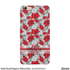 Girly Floral Poppies, White Daisies and Ladybugs Glossy iPhone 6 Plus Case