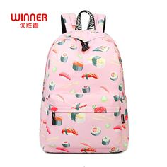 27baa9d3f8 Find More Backpacks Information about WINNER Sushi Print Backpacks Sac A  Dos Mochila Rucksacks Girls School