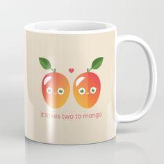 It Takes Two to Mango Mug - pun, puns, mango, mangos, tango, dance, fruit, food, funny, cute, love, relationship, tasteful, tasty, relationships, valentine, valentines, vector, art, illustration, drawing, design
