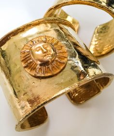 Sun King Cuffs All That Glitters, Cuff Bracelets, Jewelry Design, King, Pairs, Cuffs, Arm Warmers, Bangle Bracelet