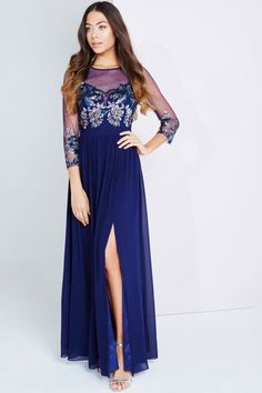 Little Mistress Navy Embellished Sheer Maxi Dress
