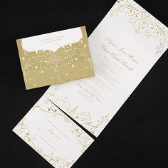 fine filigree seal n send gold wedding invitations with response sets all in one affordable elegant stationery for the bride and groom - All In One Wedding Invitations