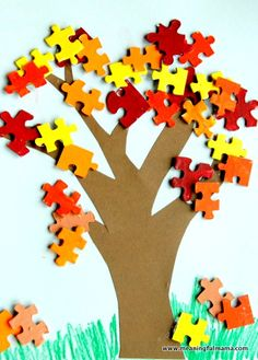 "Fall Tree and Leaf Puzzle Piece Craft: This could make a cute reward system in the fall. When students complete a specific goal/task a ""leaf"" is removed or ""falls."" (Cute idea for lost puzzle pieces) Autumn Leaves Craft, Autumn Crafts, Fall Crafts For Kids, Thanksgiving Crafts, Holiday Crafts, Fall Leaves, Puzzle Piece Crafts, Puzzle Pieces, Leaf Crafts"