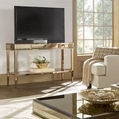Camille Glam Mirrored TV Stand Console Table with Drawer by Inspire