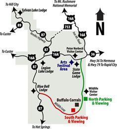 SD - Buffalo Roundup map - Custer State Park