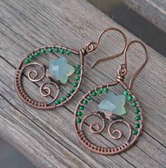 Copper Aqua Chalcedony Malachite Wire Wrapped by AlaskaFirefly, $34.00