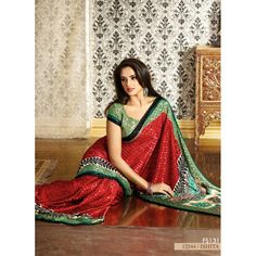 Designer Party Wear Red & Sea Green Sarees-12244(FFH-FS131)