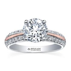Pink Passion Collection ~ White and rose 18 /14 Karat Canadian Certified  Gold engagement ring