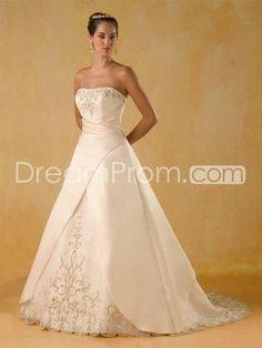 US $162.09 A Line Princess Strapless Chapel Train Satin wedding dress for brids 2010 style(WDA0377)