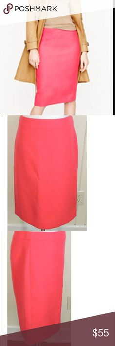 J Crew No. 2 Pencil Skirt in Hot Pink This skirt combines a classic silhouette with a punchy and exciting hot pink; the perfect piece for anyone looking to turn heads and stand out at the office. It is 100% wool with a polyester lining. In nearly impeccable condition (worn only once)! J. Crew Skirts Pencil